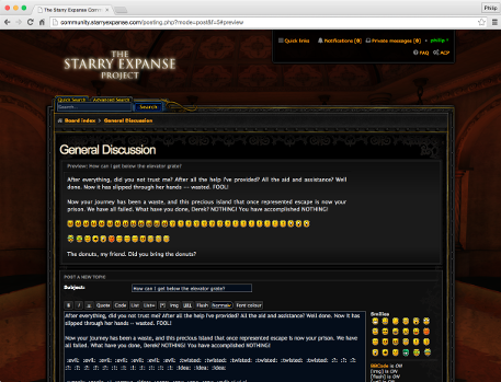A screenshot of a curious forum posting being composed