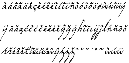Accents in the Gehn font